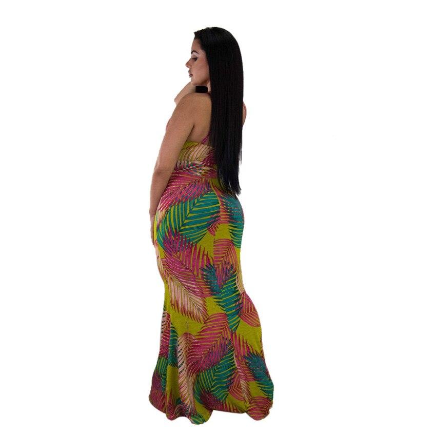Wjustforu Print Bodycon Mermaid Dress Women Sexy Spaghetti Strap Backless Dress Bandage Off Shoulder Party Club Drss Female