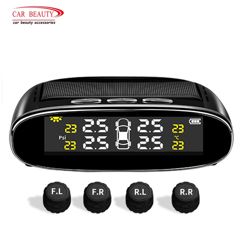 Car Tire Pressure Monitoring System Solar Wireless TPMS with LCD Color Display / 4 External Sensors Tire Alarm Indicator-in Tire Pressure Alarm from Automobiles & Motorcycles    1