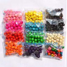 100 pçs/lote diy acessório de moda com joia, 10mm contas de madeira, contas redondas, acessório de pulseira, 16 cores