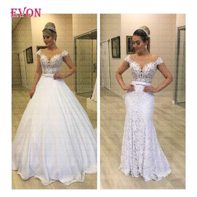 Vestido de noiva 2 En 1 Wedding Dress 2019 New Arrival Boho Lace Mermaid Wedding Gowns Removable Chiffon Skirt  Robe De Mariee