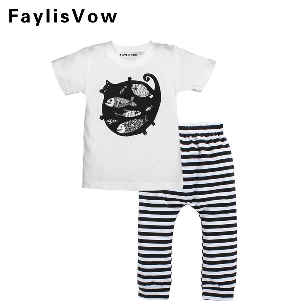 Baby Cotton Cartoon Cat Fish Clothing Sets Toddler Boys Girls Clothes Short Sleeve T-shirt Stripe Pants Infant Casual Suits