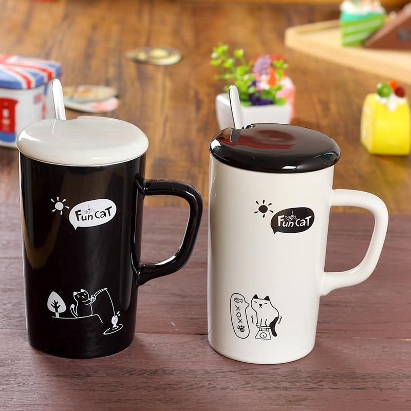 Black White Cute Cat Pattern Ceramic Milk Cup Cartoon Creative Student Gift Coffee Cup Single Layer Mug Caneca Criativa With Lid