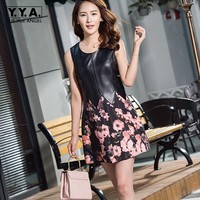 2019 New Spring Sweet Women Floral Printed Ball Gown Dress Female Genuine Leather Sleeveless Party Robe Slim Fit Mini Dresses