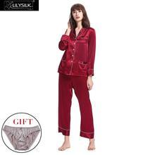 Lilysilk Pyjamas Women Sleepwear Silk Couple Pajama Sets Winter 22 Momme Trimmed Buttons Turn Down Collar Sensitive Skin Care