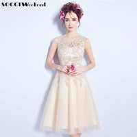 SOCCI 2017 Elegant Tulle Lace Cocktail Dresses Lace up Back Knee length Champagne Prom Dress for Women Bride Wedding Party