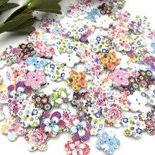 Пуговицы в форме цветка для домашнего декора, деревянные пуговицы для скрапбукинга, 100 шт, 2 отверстия, смешанные деревянные пуговицы для шитья WB06