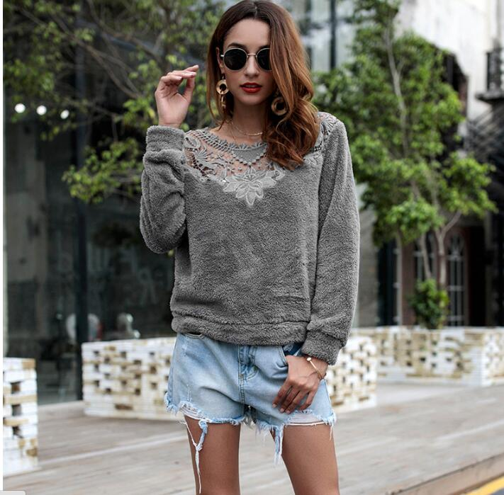 2019 Casual Lace Patchwork Autumn Winter Sweater Warm Velvet Women Knitted Sweater And Pullovers Full Sleeve Sweaters in Pullovers from Women 39 s Clothing