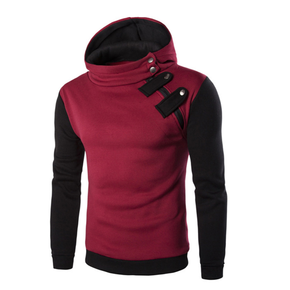 Men Casual Winter Slim Hoodie Sweatshirt Long Sleeve Cotton Hooded Pullover Coat Outwear Tops Red/black/dark gray/light gray