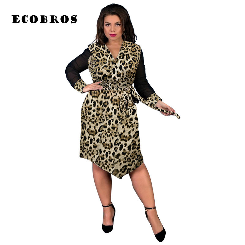 6b0d57a419 Big size 5XL 2019 Fat MM Woman leopard Dress Fashion loose long sleeves  dresses plus size