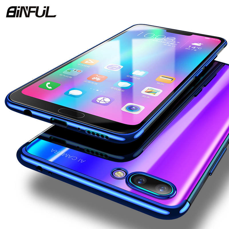 For Huawei Honor 10 Lite Case Cover Transparent Plating TPU Soft Silicone Slim Back Cover For Honor10 V10 10 Lite Phone Coque in Fitted Cases from Cellphones Telecommunications