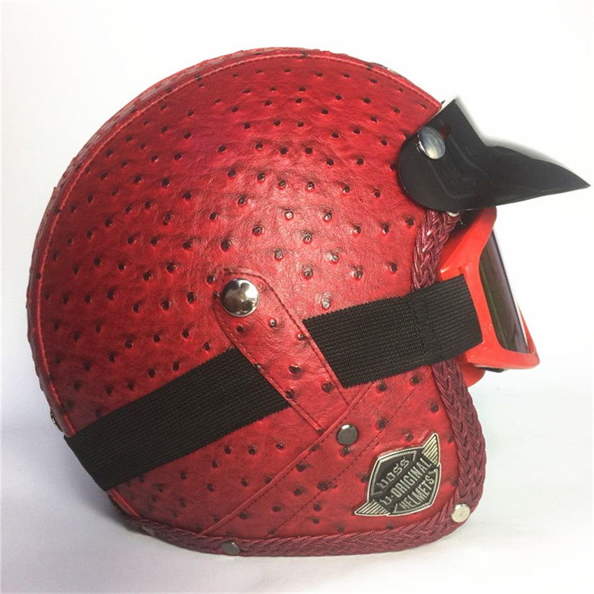 Adult Open Face Half Leather Helmet Harley Moto Motorcycle Helmet vintage Motorcycle Motorbike Vespa DOT approved kask