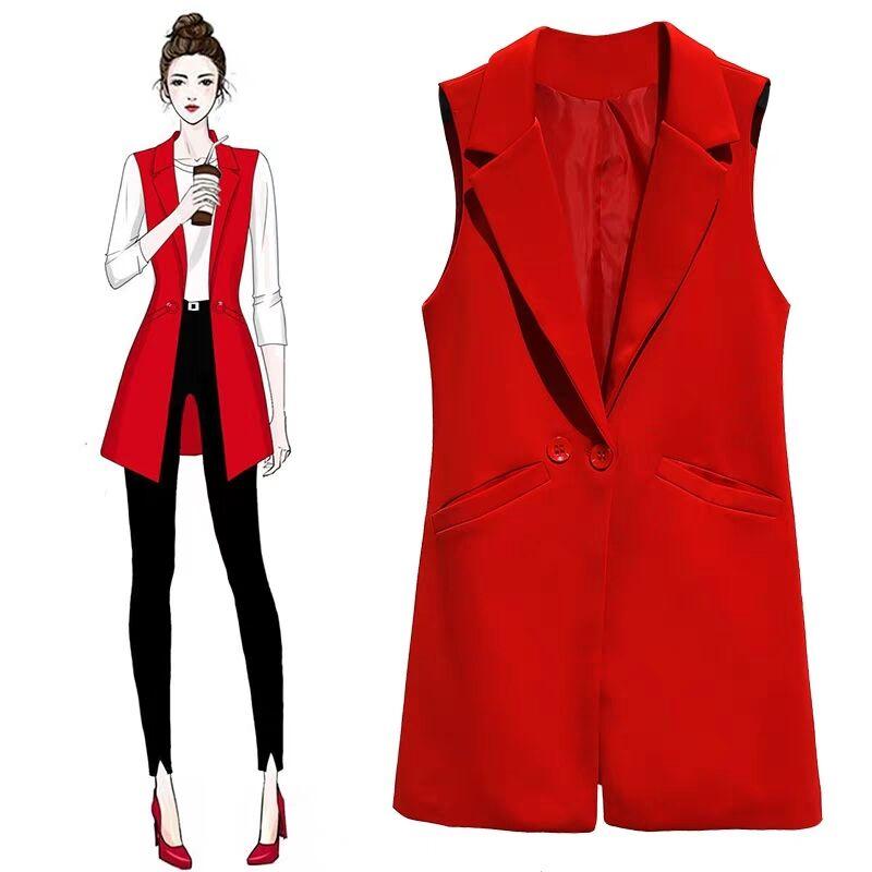 MUMUZI blazer casual women vest waistcoat women long suit vest female jacket coat black red pockets office lady sleeveless coat
