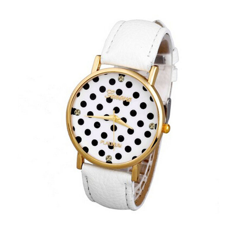 Watches Women Fashion Women Polka Dot Dial Quartz Trend Leather Strap Analog Watch Lady Dress Watches Female Clock reloj mujer longbo luxury brand fashion quartz watch blue leather strap women wrist watches famous female hodinky clock reloj mujer gift
