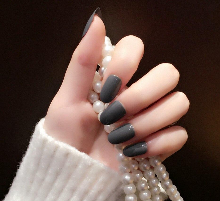 New 24pcs Fashion Milk Grey Fake Nails Cool Style Oval Short Nails ...