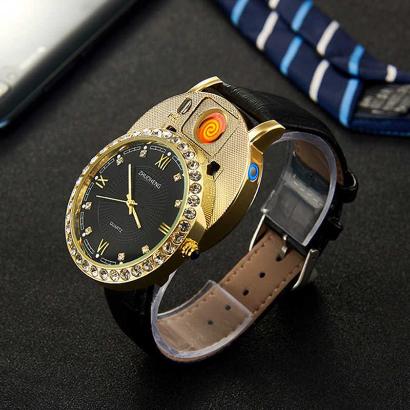 מצית שעונים גברים קוורץ שעון USB נטענת יוקרה יהלומי חיוג מקרית שעוני יד זכר שעון JH391-1 1pcs