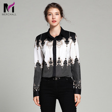 Merchall 2019 High Quality Korean Fashion Womens Long Sleeve Tops Shirt Designer Runway Floral Print Printed Chiffon Blouse