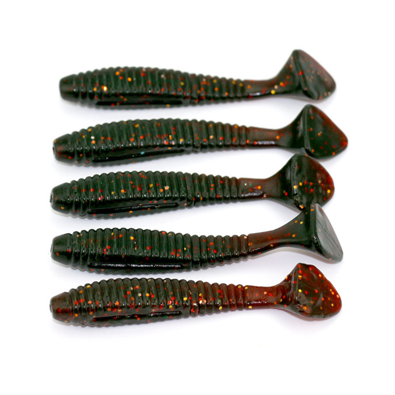 5pcs freshwater fishing lure soft rubber t tail for Rubber fishing worms