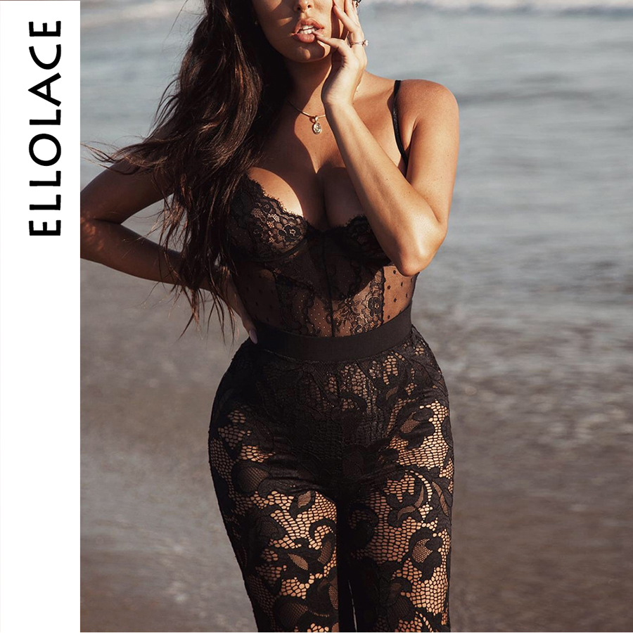 Ellolace Sexy Black Lace Bodysuit Women 2019 Transparent Solid Sleeveless   Jumpsuit   Backless Catsuit Rompers Overalls for Women