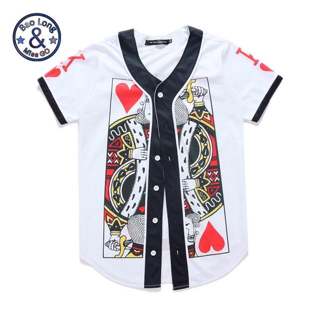 441743bd5 Mr.BaoLong Hip Hop Button Tops 3D Print Poker Paper Card King T Shirts  Short Sleeve Baseball T Shirt Summer Leisure Jersey Tops