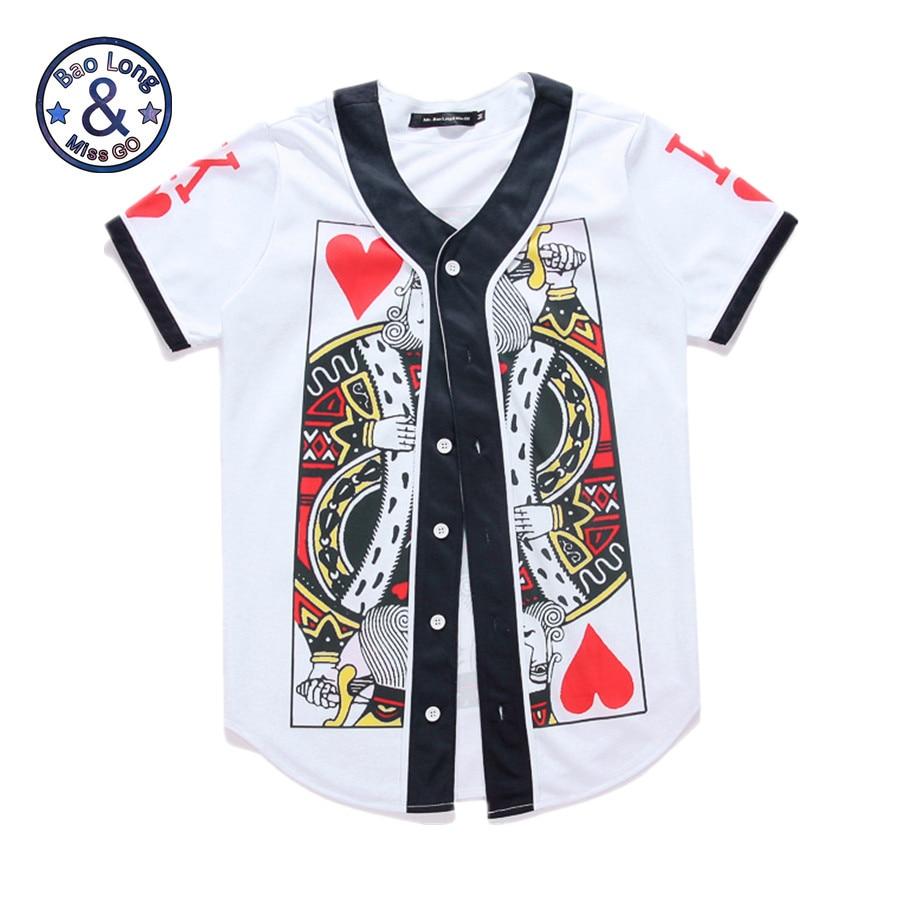 Mr BaoLong Hip Hop Button Tops 3D Print Poker Paper Card King T Shirts Short Sleeve