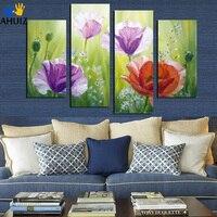 Sin marco Pintura de la Lona Pintura Abstracta Moderna de la Flor Púrpura Rojo Decoración For Living Room Pared Ilustraciones F18817