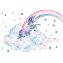 Laeacco Rainbow Unicorn Birthday Party Star Cloud Poster Watercolor Photo Background Photography Backdrop Photocall Studio