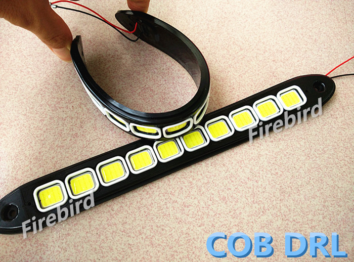 DC12V New Flexible bandable 10COB LED DRL, 10W*2 power white waterproof car fog daytime lights flexible bandable straight line cob drl daytime running lights dc12v 16w high power white e4 waterproof car fog lights