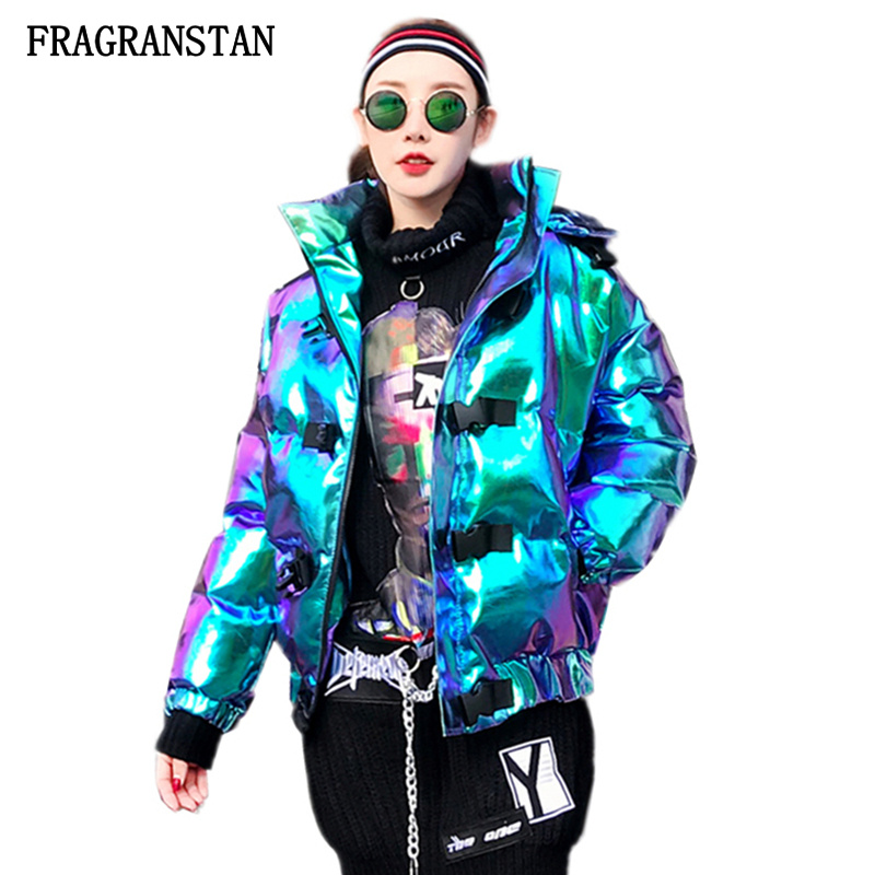 Winter Women Thick Warm Hooded Jacket Fashion Personality Laser Padded Coat Female Harajuku Plus Size Street