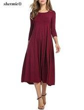 3XL плюс Размеры Для женщин летние Empired платье Однотонная повседневная обувь платье О-образным вырезом Половина рукава плиссе Bodycon Высокая Талия до колена Длина платья