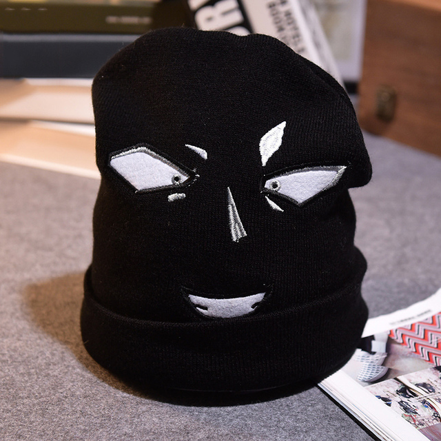 New Wacky Fashion Hat Embroidery Funny Musement Gorro Eyebrow Eye Mouth Smile Knit Cap Men Women Autumn Winter Warm Hat Cosplay