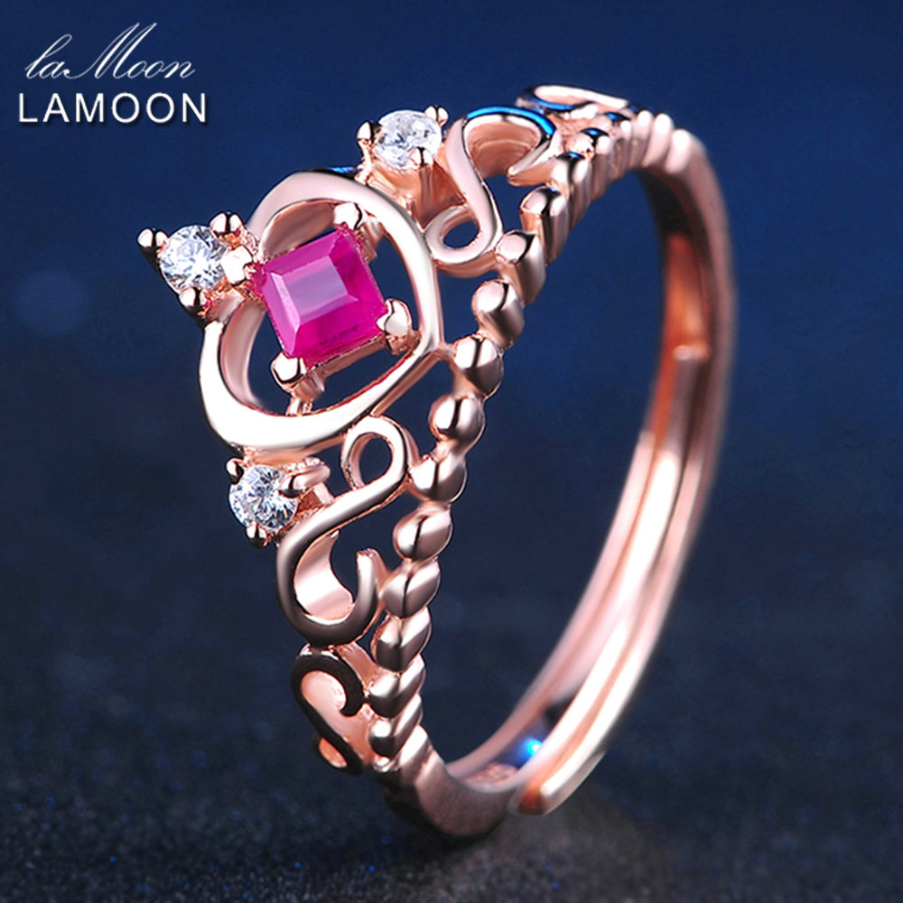 LAMOON Silver 925 Jewelry Princess Cut 0.2ct 100% Real Ruby Natural Gemstone Luxury S925 Wedding Ring LMRI013