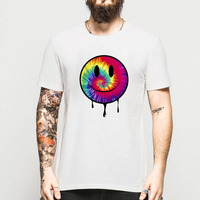 2016 NEW MEN SHIRT Acid Dripping Smiley Face Tie Dye T Shirt Rave House Music Summer