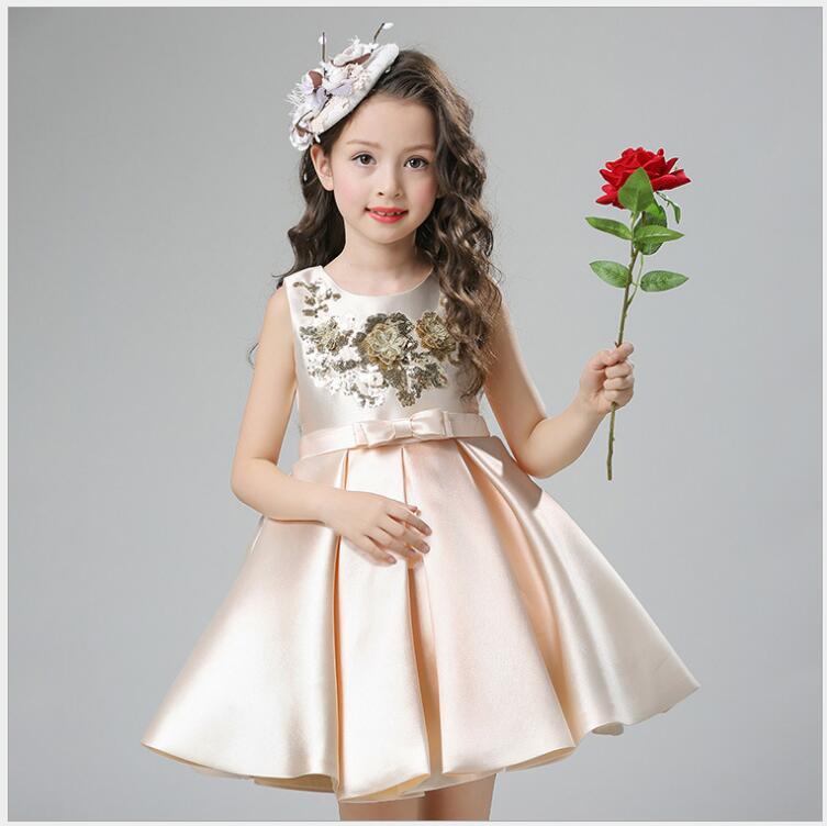 Girls Dress Mesh Pearls Children Wedding Christmas Party