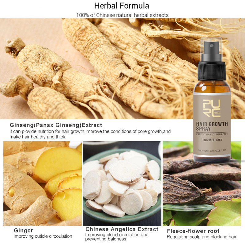 11.11 PURC New Product 30ml Hair Care Treatment Hair Growth Spray Ginger Extract Prevent Hair Loss for Men & Women 2