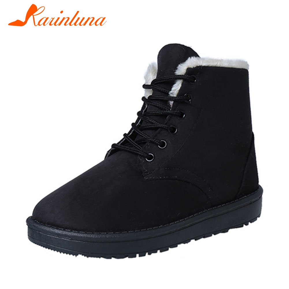 KARINLUNA Hot Women's Boots Lace Up Flat With Winter Snow Boots Women Fur Ankle female boot Winter Women Shoes Black shoes women flat winter ankle autumn snow boots 2017 female lace up fur boots brand outdoor sport girl shoe size 35 41 page 6