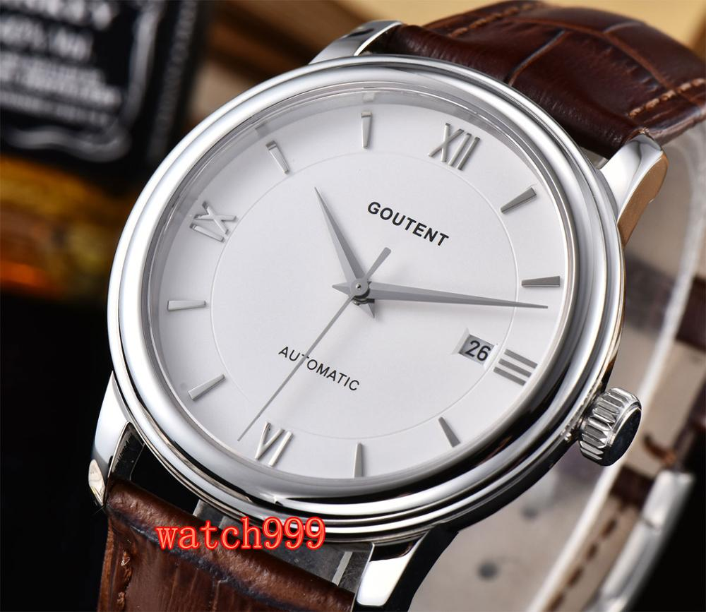 40mm Goutent Automatic Mens Watch White Dial Sapphire crystal Luminous Miyota Movement Leather strap40mm Goutent Automatic Mens Watch White Dial Sapphire crystal Luminous Miyota Movement Leather strap