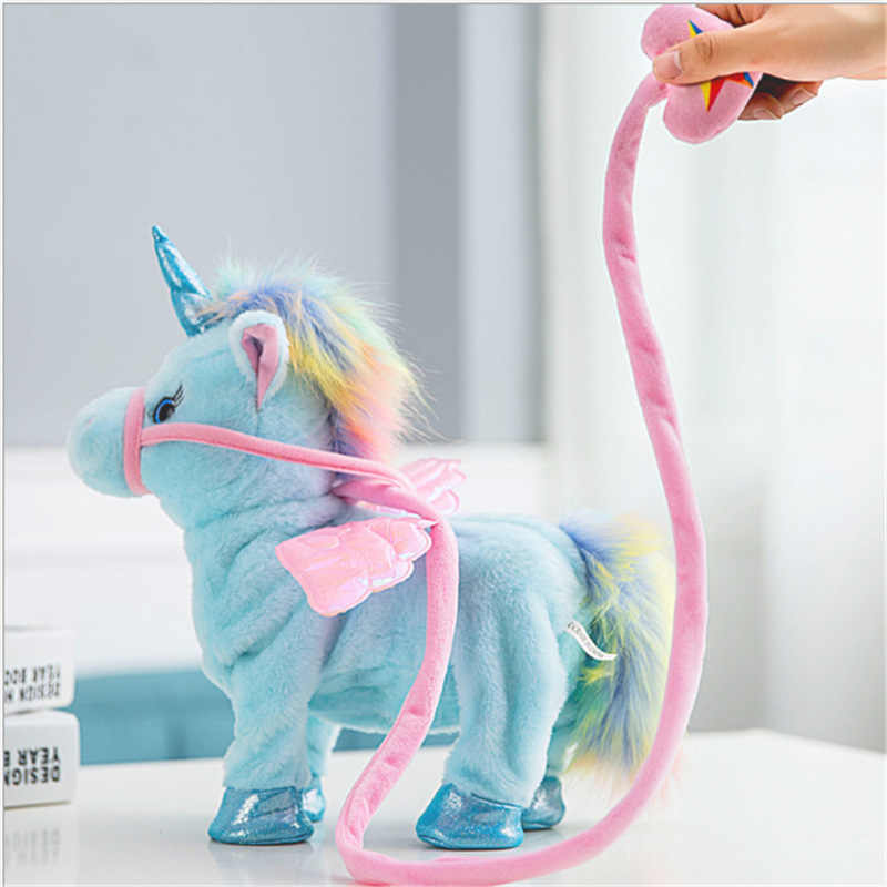 Большой розовый Электрический ходящий говорящий кукла-Единорог Мягкие пушистые животные плюшевые игрушки для мальчиков и девочек детские игрушки для малышей