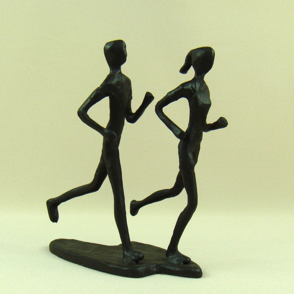 Abstract Iron Art Morning Jogging Lovers Miniature Cast Metal Couple ...