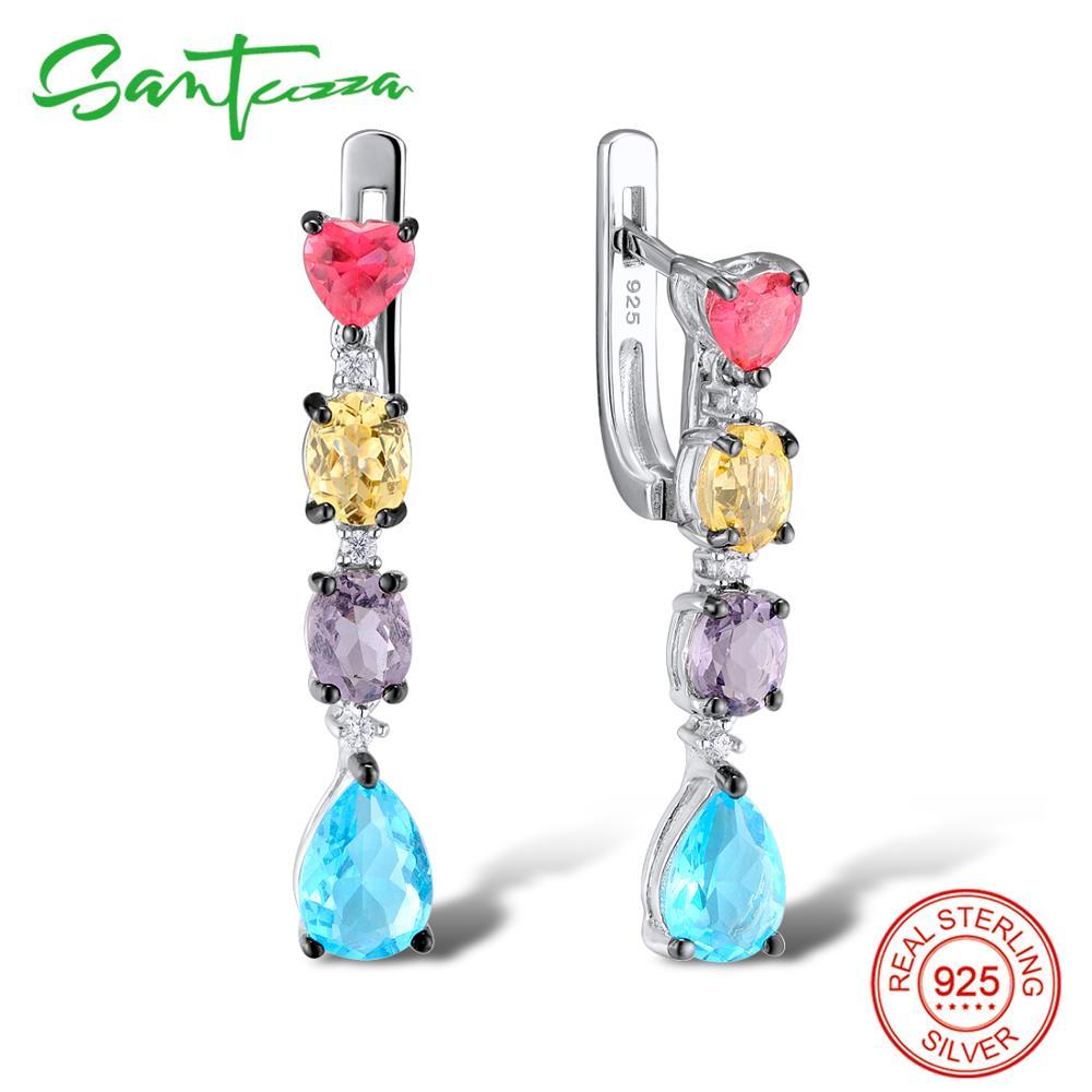 SANTUZZA Silver Earrings For Women 925 Sterling Silver Dangle Earrings Long Silver 925 Colorful Stones brincos