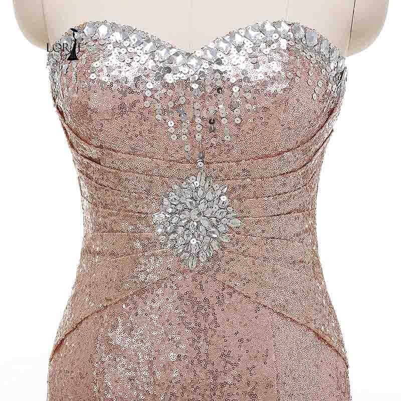 LORIE Images réelles cristaux Sequin robes de bal Mermiad pas cher robe de soirée grande taille robe de soirée pour femme - 3
