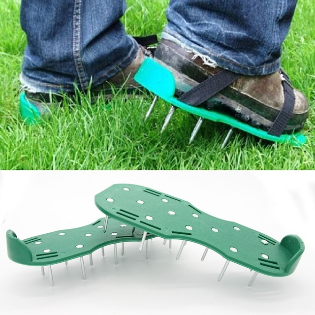 Lovely 1 Pair Green Garden Lawn Aerator Spikes Aerating Shoes Garden Lawn Care  Tool New