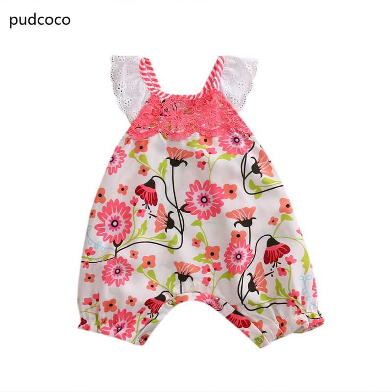 Lace Ruffled Sleeve Floral Rompers Infant Baby Girls Lace Cotton Print One Piece Romper Jumpsuit Clothes Outfits Infant Clothing