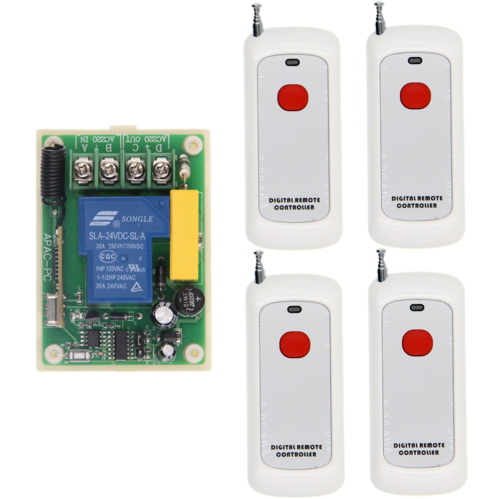 цена на 500m Range AC 220V 30A 1CH 1 CH Wireless Remote Control Switch Relay Output Radio RF Transmitter And 315/433 MHz Receiver