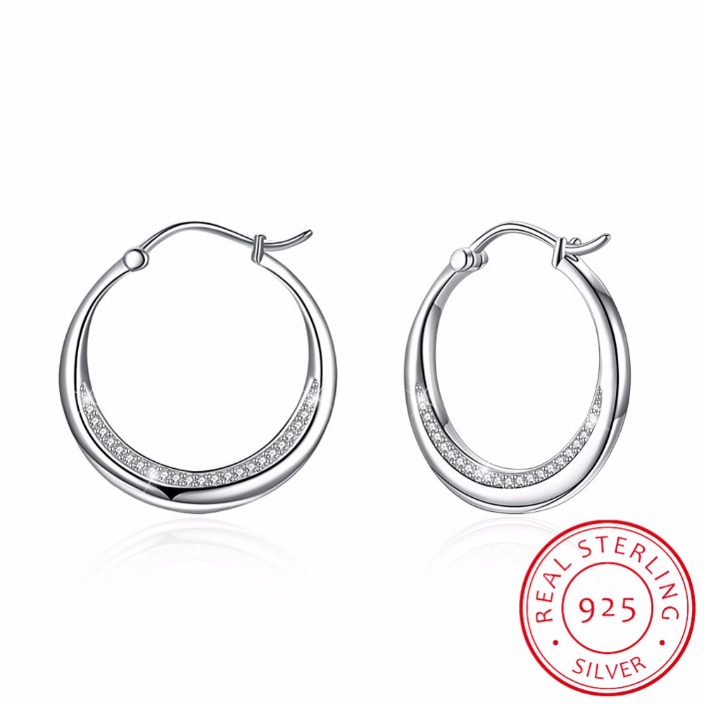 100% 925 Sterling Silver Hoop Earrings Round Circle Hoop Earrings Women men Crescent moon Silver Earrings Pendientes Jewelry pair of delicate rivet round hoop earrings for men