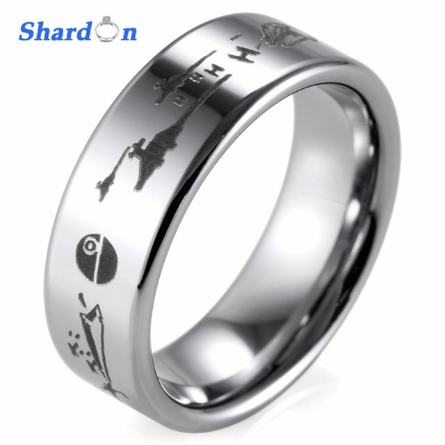 9b08dc880ff SHARDON Star Wars A New Hope Death Star Space Battle Black Tungsten Ring  Episode IV Men s Wedding band and engagement ring