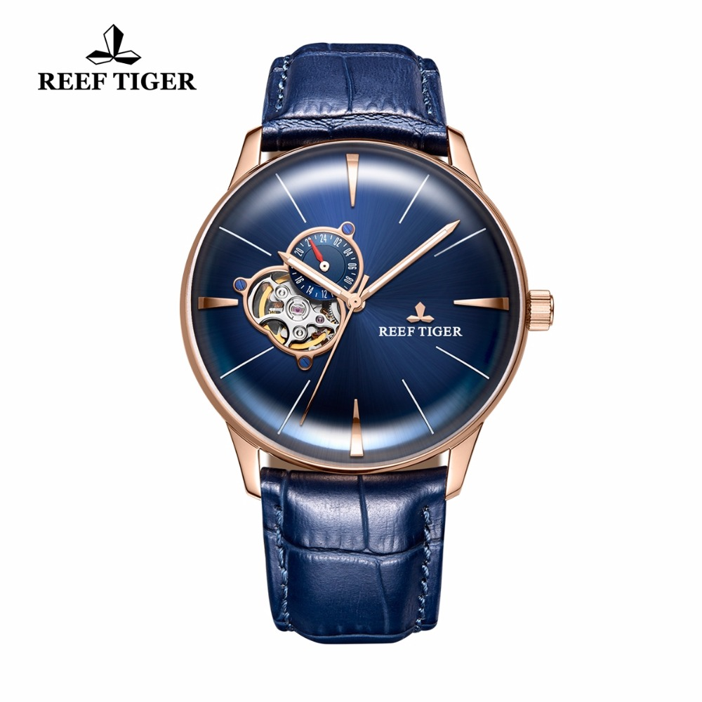 New Reef Tiger/RT Designer Casual Rose Gold Blue Dial Watches Convex Lens Automatic Watches for Men RGA8239 yn e3 rt ttl radio trigger speedlite transmitter as st e3 rt for canon 600ex rt new arrival