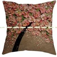 Linen Burlap 45cm 3D Artificial Peach Flower Print Decorative Pillow Cushion Cover In Home Sofa Bed