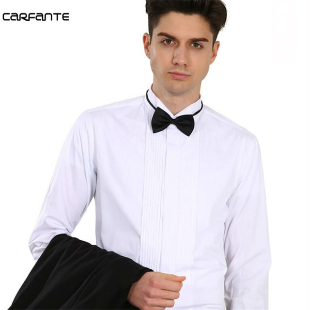 Carfante Mens French Long Sleeve Dress Shirt Male Formal Tuxedo