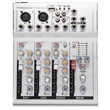 4 канала Live Dj аудио микшер звук микшерный пульт с Usb Mp3 Разъем для караоке Ktv музыкальное шоу вечерние Bluetooth Eu Plug