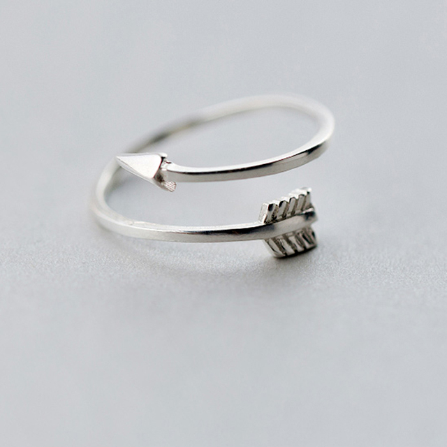 QIMING New Arrows Rings Genuine 925 Sterling Silver Plain Polished Love Arrow To